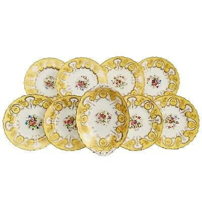 Coalport part dessert service, yellow ground, 1907