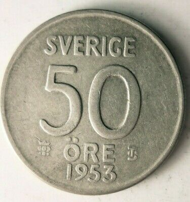 Great Collectible Sweden Silver Bin B 1950 SWEDEN 50 ORE FREE SHIPPING