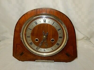 Inlaid Art Deco Mahogany Mantel Clock not working