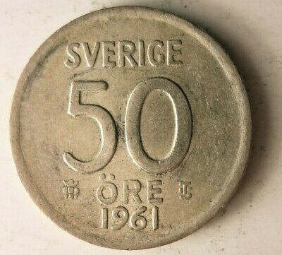 1950 SWEDEN 50 ORE FREE SHIPPING Sweden Silver Bin B Great Collectible
