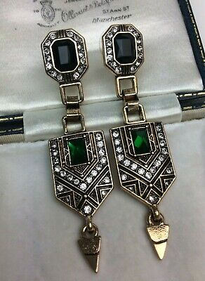 Vintage Style Art Deco Egypt Geometric Drop Earrings Emerald Green Crystals