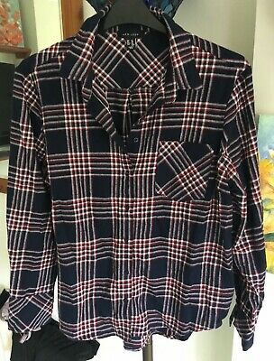 NEW LOOK Ladies Check Shirt - Blue/Red/White 100% Brushed Cotton UK Size 16