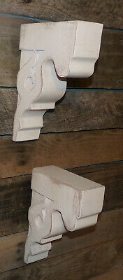 2pc Set Rustic Wood Corbels Distressed White Wall Brackets Shelves Wall Decor