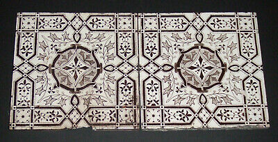 "Pair of Antique Victorian Tiles Some chips and Nibbles 6"" Six Inch B&W Geometric"