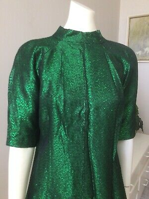 Original Vintage 60s Lurex Top Blouse ,Green , Pinup,Mod ,Go Go, Retro Top