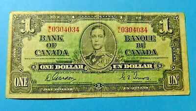 1937 Bank of Canada 1 Dollar Note - Grade F