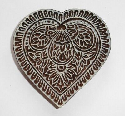 Floral Heart Shaped 10cm Indian Hand Carved Wooden Printing Block Stamp