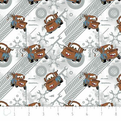 Camelot Fabric Disney Pixar Cars Mater Grey Fat Quarters 85070105 100% Cotton