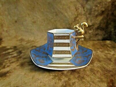 Vintage Hand Painted Demitasse Cup & Saucer W/Squirrel Handle/Made In Japan