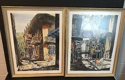 Pair of Vintage Mid-Century Paintings By A. Shemroske New Orleans Pirates Alley