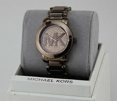 372e981f5 New Authentic Michael Kors Runway Brown Sable Pave Crystals Women's Mk6534  Watch
