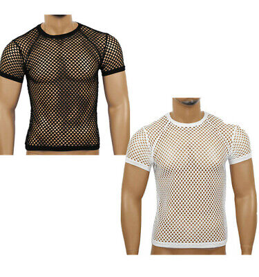 Mens Slim Fit Sheer T-Shirts Fishnet Tee Blouse Tank Tops Muscle Hollow Out Tops