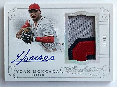2016 Panini Flawless Yoan Moncada AUTO RC #'d /15 3-Color Patch Relic SSP