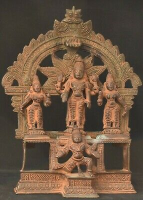 Vintage Indian bronze Vishnu and his consorts 7 inches