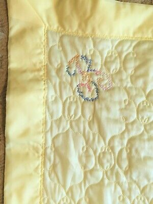 "Vintage Soft Quilted Satin or Nylon Baby Crib Blanket 46"" x 46"" - Nice!"
