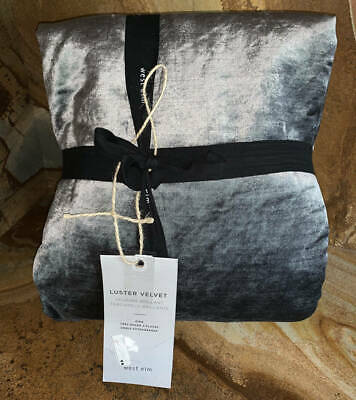 PEWTER GRAY $209 NEW WEST ELM LUSTER VELVET KING DUVET COVER