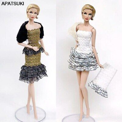 1set High Fashion Doll Clothes for 1/6 Doll Outfits Top Shirt & Skirt & Shawl