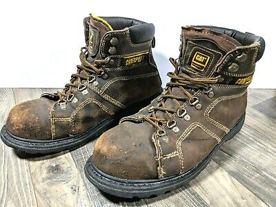 Caterpillar CAT SILVERTON Steel Toe Work Boots Mens 12 Brown Leather Safety EH