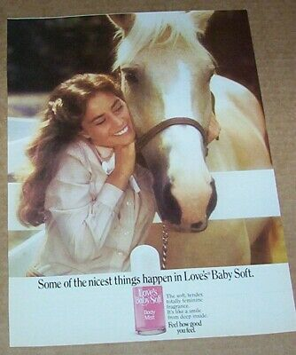 1982 print ad page - Love's Baby Soft CUTE Girl & Horse vintage Advertising
