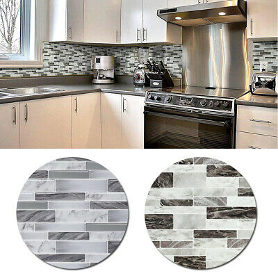 1xPET Marble Mosaic Peel Stick Wall Tile DIY Kitchen Bathroom Wall Decal Sticker