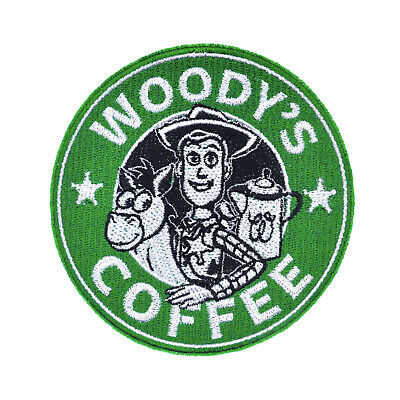 Disney Toy Story Woody Coffee Mock Starbucks Logo Embroidered Iron-On Patch