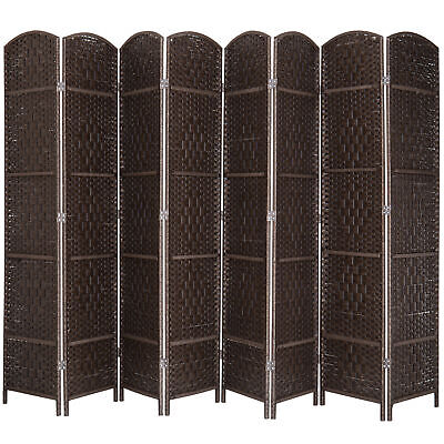 MyGift 8-Panel Handwoven Bamboo Room Divider with Dual-Action Hinges, Brown