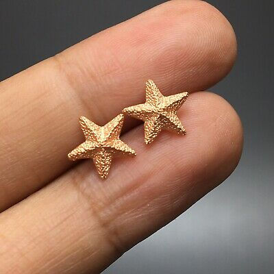 10mm Star Rose Gold Tone Tiny Earrings Stud Fashion Small Mini Cute Vintage Luck
