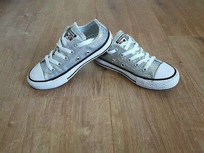 Girls Silver All STAR CONVERSE Size 11UK