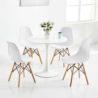 Fabulous Small Round White Table And 2 4 Dining Chairs Eiffel Plastic Dailytribune Chair Design For Home Dailytribuneorg