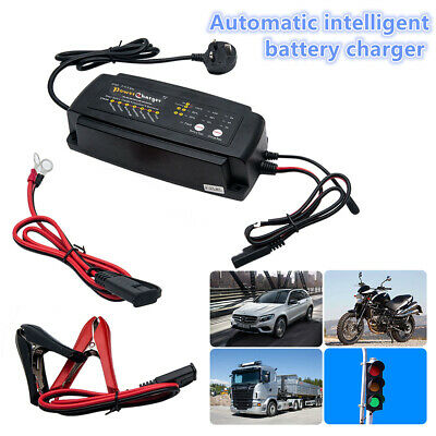 Full Automatic Smart Fast Battery Charger For Car/Motorcycle UK Plug 12V