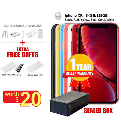 Factory Unlocked New Sealed Apple iPhone XR 64/128GB  Multi Colors 1 Yr Wty