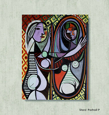 Pablo Picasso Spanish Artist Oil Painting Canvas Girl Before a Mirror Vintage 30