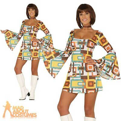 Adult Ladies 1970s Disco Girl Dress Costume Hippy Fancy Dress Womens Outfit