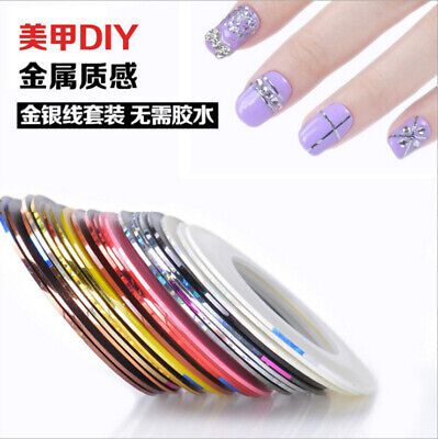 10Rolls Mixed Colors Striping Tapes Line Adhesive Sticker Nail Art Decor Tool
