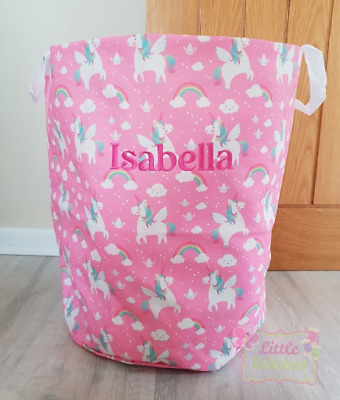 Sass and Belle Embroidered Personalised Unicorn Toy Storage Bag