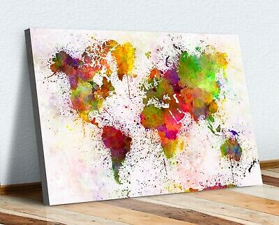 Warm Abstract World Map Paint Splatter Canvas Wall Art Print Artwork 30Mm Deep
