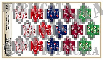 Diorama Accessory - 1/24 Soda / Pop / Soft Drink Boxes - 12 Cans