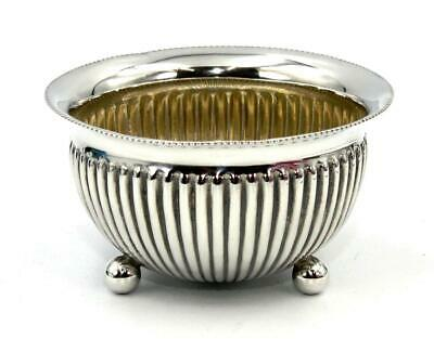 Small Antique Sterling Silver Bowl, Reeded, B'Ham 1886, Perfect
