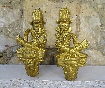 Antique French  Pair Gilt Bronze Curtain Hold Tiebacks Hooks Torch & Quivers