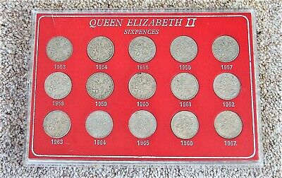 Queen Elizabeth Sixpences 1953 to 1967 - 15 coins in Perspex slide case JS33