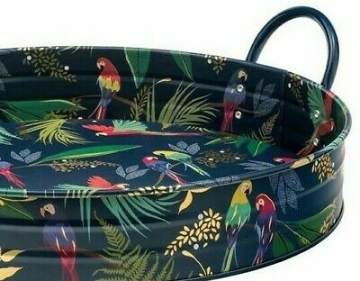 Sara Miller Large Round Tray with Handles Tropical Parrots leaves