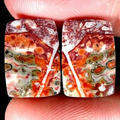 15.45Cts.BIRD EYE JASPER NATURAL MATCHED PAIR  OCTAGON CAB TOP LOOSE GEMSTONE