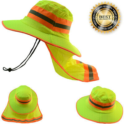 2 Pcs Hi Vis Reflective Safety Neck Flap Boonie Green Hats Ventiation Bucket Cap
