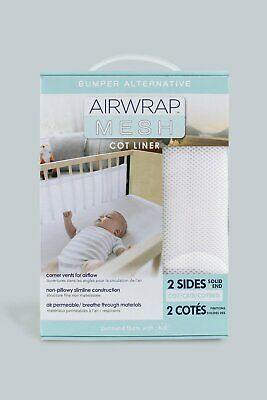 Airwrap Mesh Breathable  2 Side Cot Bumper - White