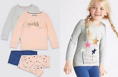 Girls pyjama M & S baby 12 18 months 2 3 4 5 6 7 8 years sparkle stars