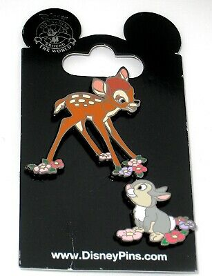 Retired Disney Pin Set NEW ✿ Bambi Baby Deer Thumper Bunny Flowers Classic 2001