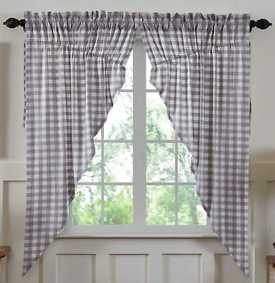 "63"" L Country Gray & White Buffalo Check Drawstring Prairie Curtains Lined Annie"