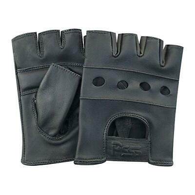 Prime Mens Real Soft Leather Fingerless Driving Motorcycle Bike Wheelchair Glove