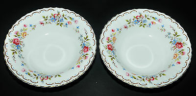 Royal Albert Jubilee Rose Two Rimmed Soup Or Salad Bowls Set