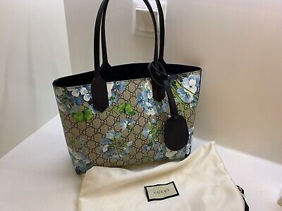 b337b0614 AUTH NWT GUCCI Blooms Blue Navy Reversible GG tote Leather Handbag ...